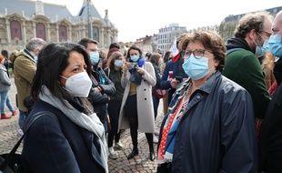 Karima Delli (à gauche) et Martine Aubry, lors d'un rassemblement pour le climat, à Lille le 28 mars 2021 (illustration).