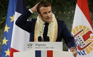 Emmanuel Macron lors de son discours à Papeete, mardi.