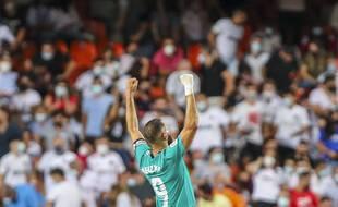 Karim Benzema, héros du Real Madrid sur la pelouse de Valence le 19 septembre 2021.