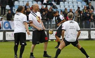 Zidane et Deschamps lors d'un match de charité organisé par Pascal Olmeta pour son  association «Un Sourire Un espoir pour la Vie», le 14 mai 2018.