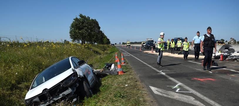 Photo d'illustration d'un accident sur une autoroute française.