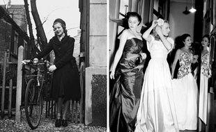 A gauche, une femme en août 1944. A droite, défilé de mode Jacques Fath en 1942.