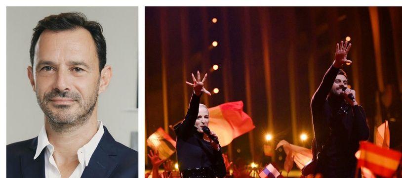 Franck Firmin-Guion, à g. Le duo Madame Monsieur sur la scène de l'Eurovision 2018.