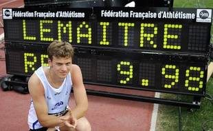 Le sprinteur Christophe Lemaitre, recordman de France du 100 mètres, le 9 juillet 2010