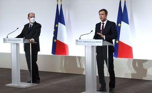 Jean Castex et Olivier Véran, le 4 mars 2021.