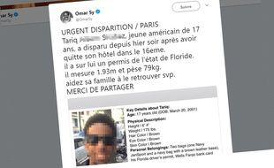 Le samedi 18 août 2018, Omar Sy a relayé l'avis de recherche d'un ado américain disparu à Paris.
