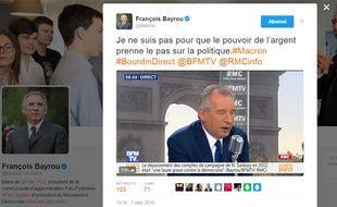 Capture d'écran Twitter François Bayrou