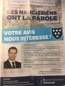 Le questionnaire distribué aux habitants de Nangis par Aymeric Durox, candidat du RN pour les municipales 2020.