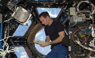 L'astronaute Thomas Pesquet lors de son séjour à bord de l International Space Station, (ISS).