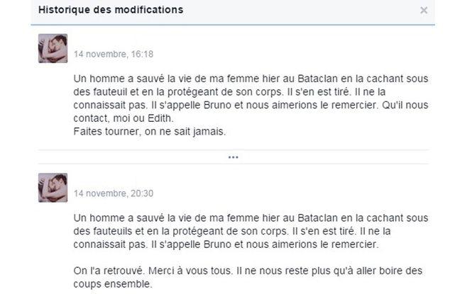 Un message posté sur Facebook le 14 novembre 2015, par un homme à la recherche du sauveur de son épouse lors de l'attaque du Bataclan à Paris.
