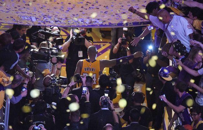 Les adieux de Kobe Bryant pour son dernier match avec les Lakers, le 14 avril 2016.