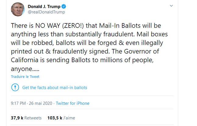 Etats-Unis: Twitter signale un tweet de Donald Trump comme trompeur, une première
