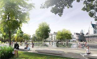Image de synthèse du futur miroir d'eau situé devant le château des ducs de Bretagne.