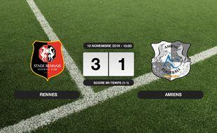 Ligue 1, 13ème journée: Le Stade Rennais bat Amiens 3-1 à domicile