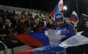 Anton Shipulin, le biathlète russe, lors du sprint de Kontiolahti le 8 mars 2018.