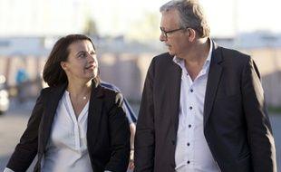Cécile Duflot accueillie par Pierre Laurent, secrétaire national du PCF, à la fête de L'Humanité.