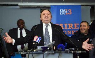 Le président sortant du conseil général des Bouches-du-Rhône et président fondateur du parti La force du 13 Jean-Noël Guérini le 22 mars 2015 à Marseille