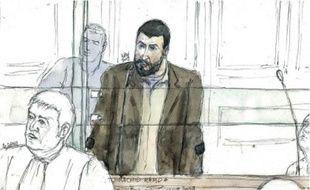 Croquis de Rachid Ramda, hier,à la cour d'appel de Paris.
