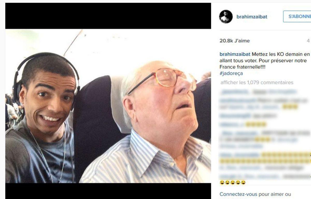 Capture d'écran d'un post Instagram de Brahim Zaibat où celui-ci apparaît avec Jean-Marie Le Pen. – Instagram/Brahim Zaibat