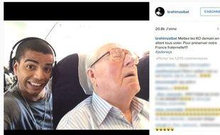 Capture d'écran d'un post Instagram de Brahim Zaibat où celui-ci apparaît avec Jean-Marie Le Pen.