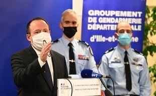 Le procureur de la République Philippe Astruc ici lors d'une conférence de presse au sujet du meurtre de Magali Blandin près de Rennes.