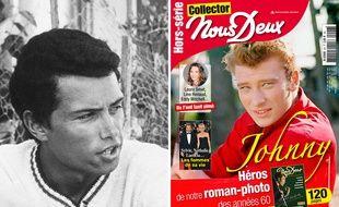 Le photographe Jean-Marie Perier à gauche, et la une avec le cliché de Johnny Hallyday qu'il a réalisé pour le magazine « Nous Deux ».
