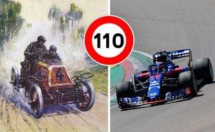 Illustration de voiture de courses de 1901 et 2020