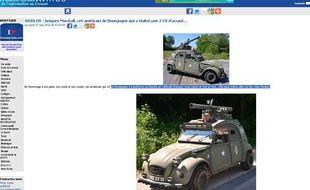 Capture d'écran du site Creusot infos qui rencontré le propriétaire américain d'une 2CV transformée en char d'assaut.