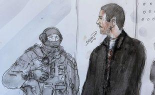 Dessin de presse: Mehdi Nemmouche en juin 2014 à la cour d'appel de Versailles.