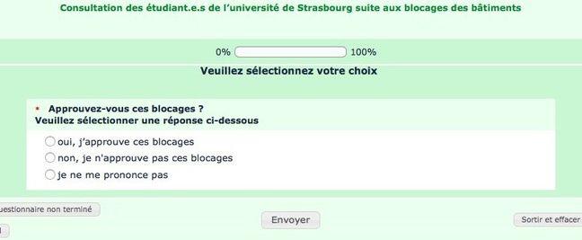 La question posée aux étudiants de l'université de Strasbourg dans un sondage sur les blocages.