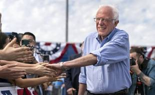 Democratic presidential candidate Sen. Bernie Sanders greets supporters during a campaign rally in Santa Ana, California on February 21, 2020. Sanders is campaigning ahead of Super Tuesday and the California Democratic primary. (Photo by Ronen Tivony/Sipa USA) *** Please Use Credit from Credit Field ***/29208803//2002220416