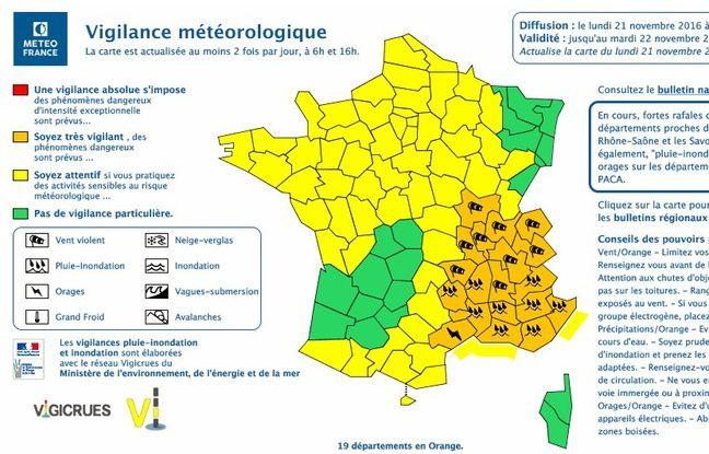 Plusieurs départements sont placés en vigilance orange par Météo-France ce lundi 21 novembre 2016.
