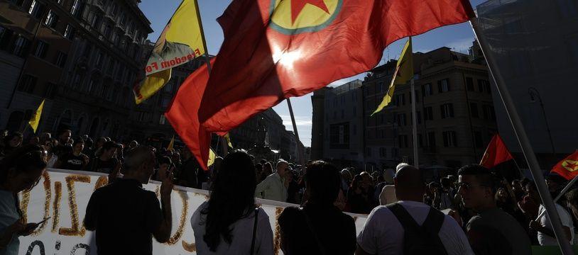 Un drapeau du PKK lors d'une manifestation en Italie. (illustration)