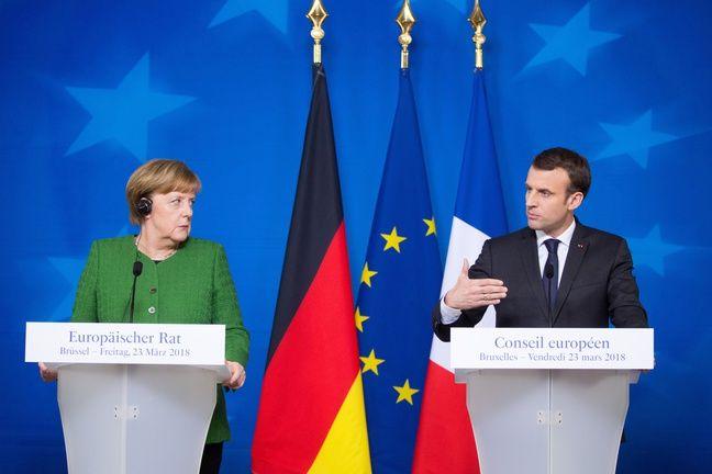 Angela Merkel et Emmanuel Macron le 23 mars 2018 à Bruxelles.