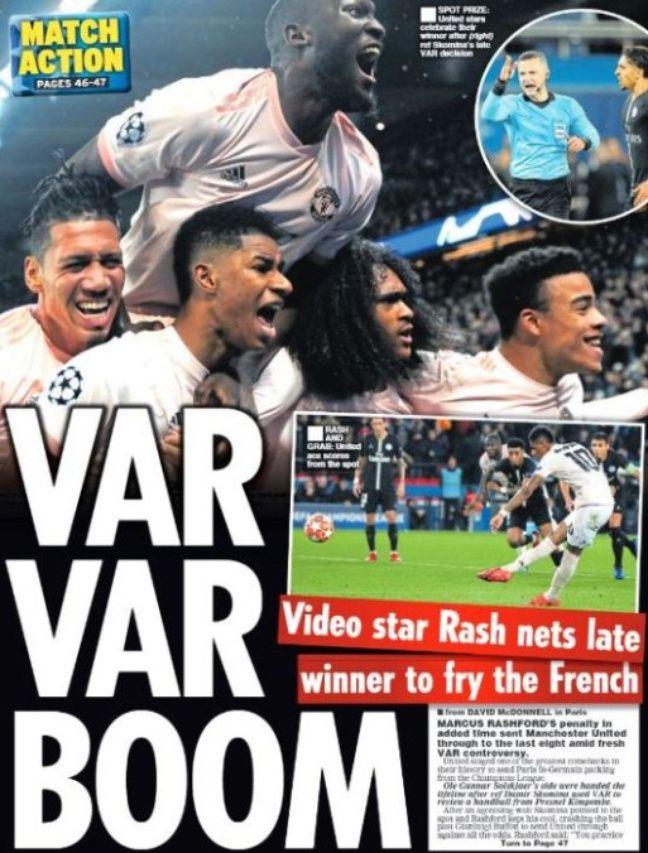 La une du Daily Star après le miracle mancunien à Paris.