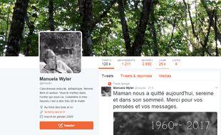 Le compte Twitter de Manuela Wyler était suivi par plus de 2.000 followers.