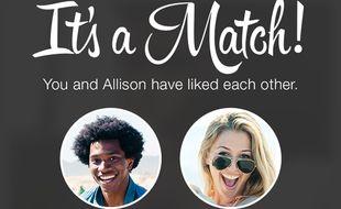 Sur l'application Tinder, si deux personnes apprécient leurs photos respectives, elles ont un match.