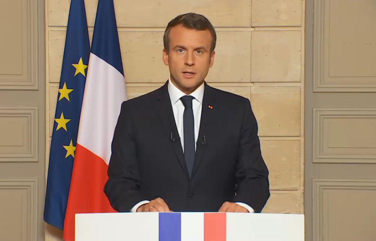 Le président français s'exprime après l'annonce du retrait des Etats-Unis de l'accord de Paris sur le climat, le 1er juin 2017. – Capture d'écran Elysée