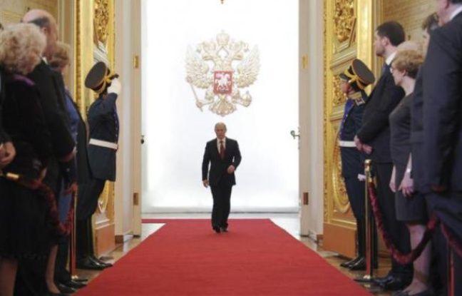 Vladimir Poutine, lors de la cérémonie d'investiture à la présidence russe, le 7 mai 2012 au Kremlin, à Moscou.