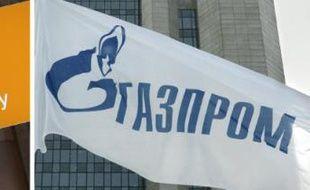 Montage photo des logos de l'Allemand BASF et du groupe gazier russe Gazprom