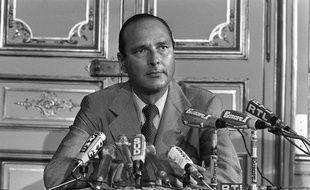 Jacques Chirac lors de sa démission comme Premier ministre en août 1976.