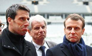 Tony Estanguet aux côtés d'Emmanuel Macron, le 27 février dernier au Stade de France.