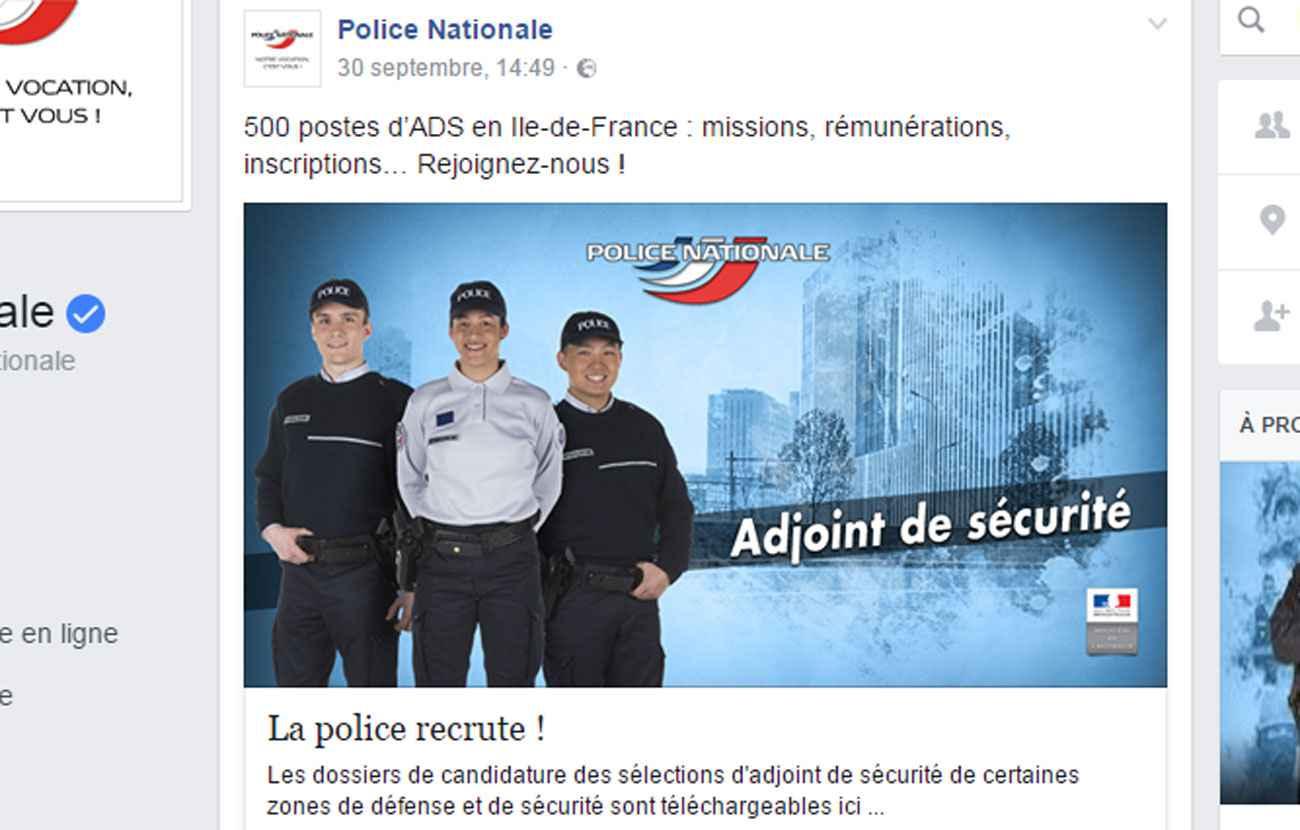 campagne de recrutement la page facebook de la police se fait m chamment troller. Black Bedroom Furniture Sets. Home Design Ideas