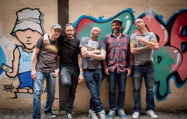 Les graffeurs de la Truskool, lors du lancement du livre d'Olivier Gal,