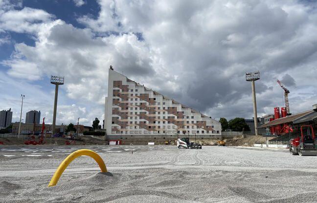 Le stade Bauer en travaux, le 7 juillet 2021.