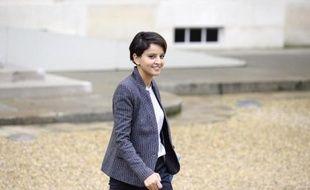 La ministre de l'Education nationale Najat Vallaud-Belkacem, le 26 novembre 2014 à la sortie de l'Elysée