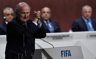 Sepp Blatter remporte l'élection à la présidence de la Fifa, le 29 mai 2015, à Zurich.