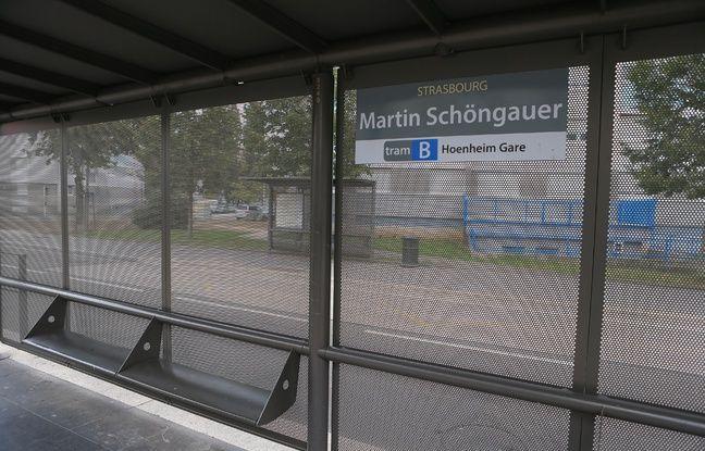 Strasbourg le 14 octobre 2016. Station tram Marin Schonghauer à l'Elsau.