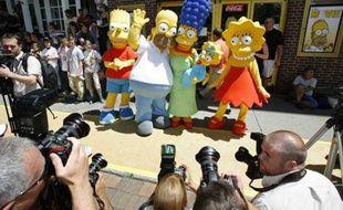 Les personnages du dessin animé «Les Simpsons» lors de la première du film à Springfield, Vermont, le 21 juillet 2007.