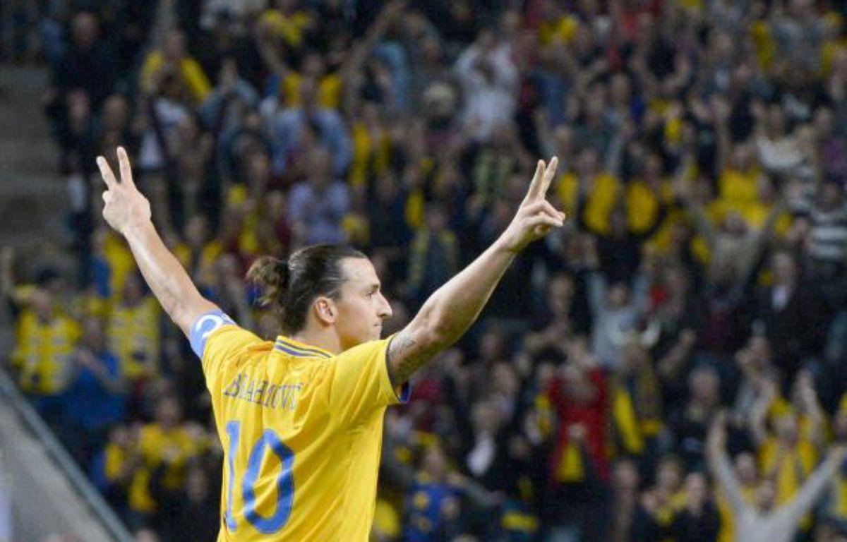 L'attaquant international suédois Zlatan Ibrahimovic, lors d'un macth contre l'Angleterre au cours duquel il inscrit un quadruplé. – REUTERS